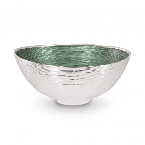 BAGLIORI OVAL BOWL - Glass & Silverplate