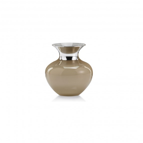LAGUNA NATURAL VASE - Glass & Silverplate